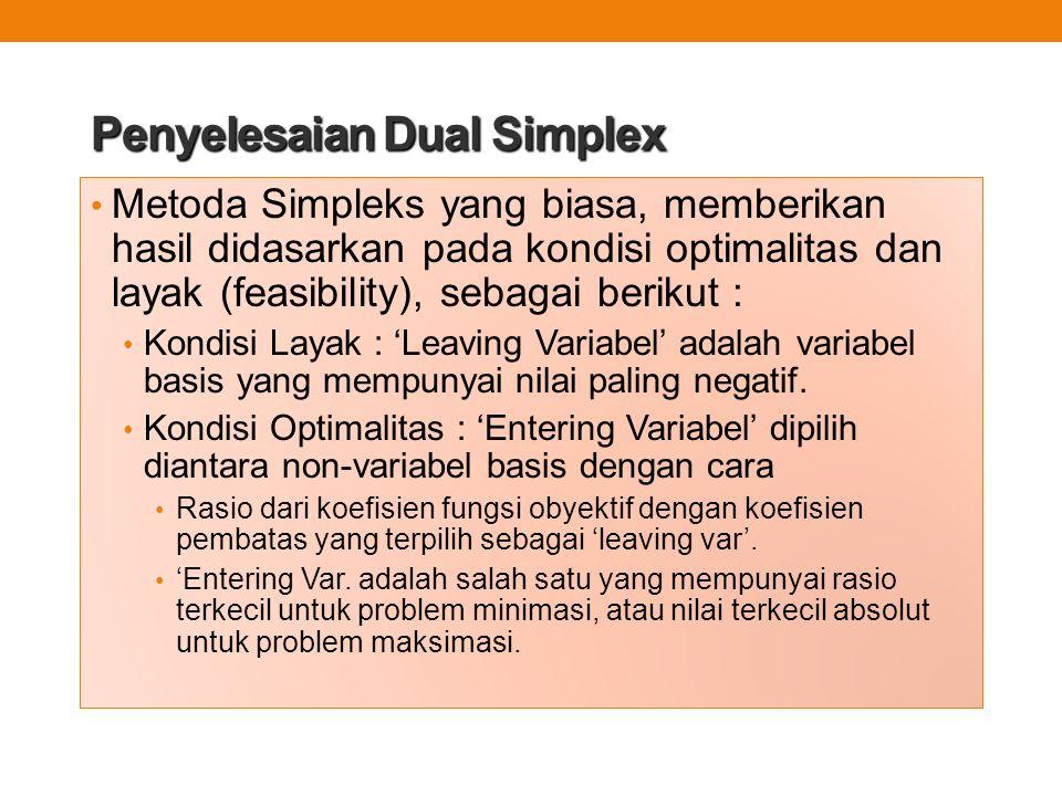 Penyelesaian Dual Simplex Metoda Simpleks yang biasa, memberikan hasil didasarkan pada kondisi optimalitas dan layak (feasibility), sebagai berikut :
