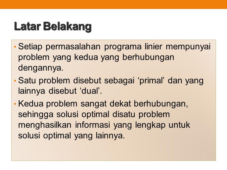 Latar Belakang Setiap permasalahan programa linier mempunyai problem yang kedua yang berhubungan dengannya. Satu problem disebut sebagai 'primal' dan