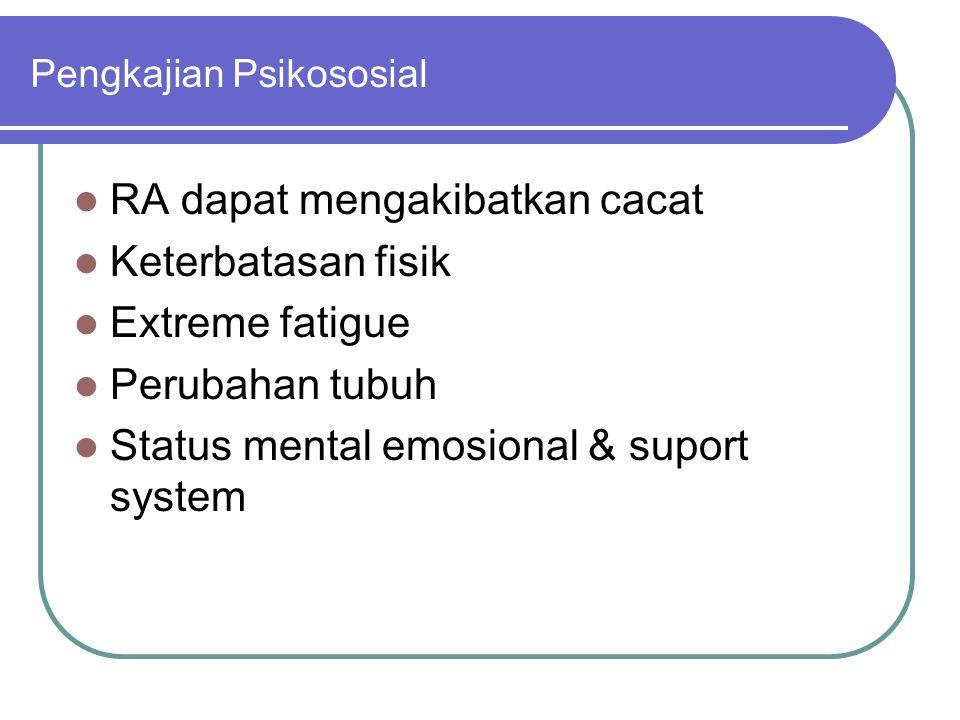 Pengkajian Psikososial RA dapat mengakibatkan cacat Keterbatasan fisik Extreme fatigue Perubahan tubuh Status mental emosional & suport system
