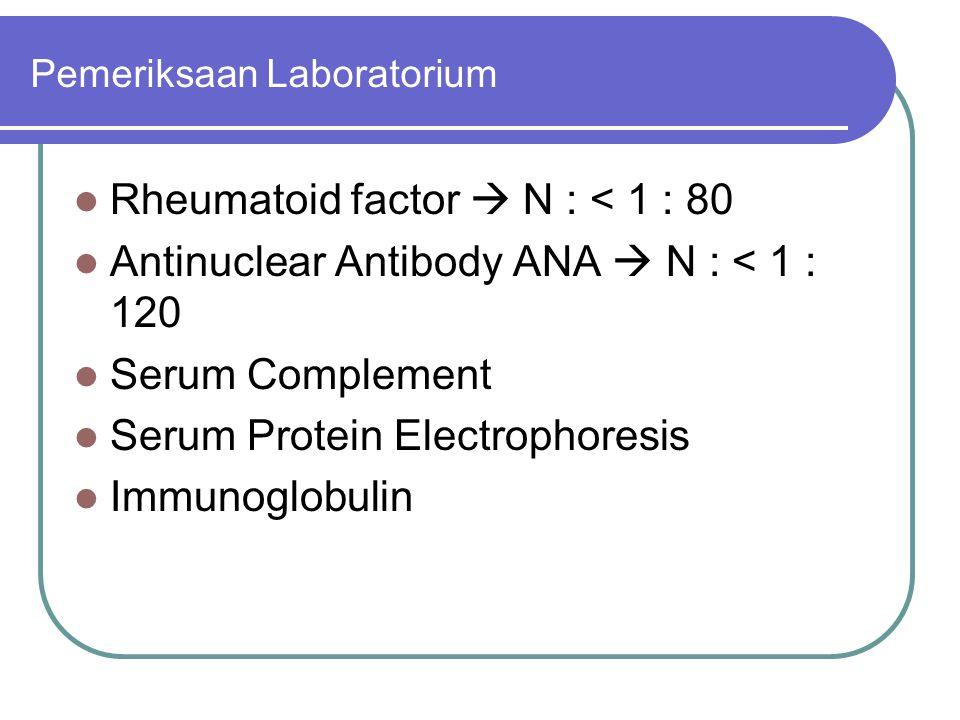 Pemeriksaan Laboratorium Rheumatoid factor  N : < 1 : 80 Antinuclear Antibody ANA  N : < 1 : 120 Serum Complement Serum Protein Electrophoresis Immu