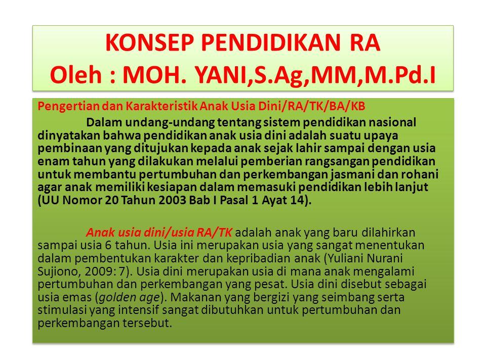 KONSEP PENDIDIKAN RA Oleh : MOH. YANI,S.Ag,MM,M.Pd.I Pengertian dan Karakteristik Anak Usia Dini/RA/TK/BA/KB Dalam undang-undang tentang sistem pendid