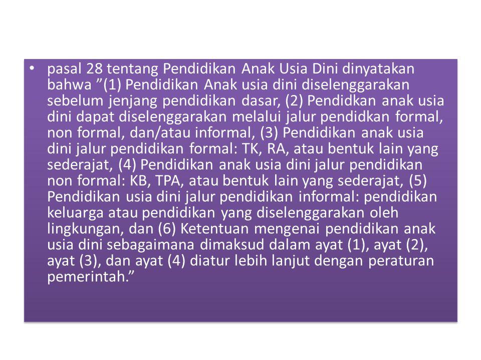 """pasal 28 tentang Pendidikan Anak Usia Dini dinyatakan bahwa """"(1) Pendidikan Anak usia dini diselenggarakan sebelum jenjang pendidikan dasar, (2) Pendi"""