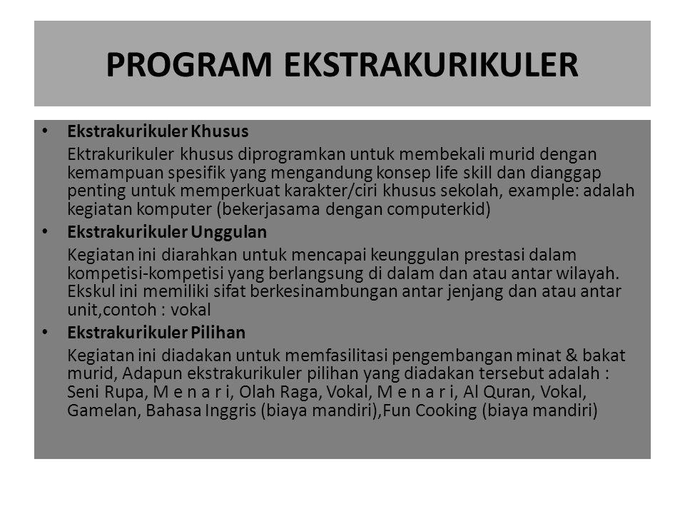PROGRAM EKSTRAKURIKULER Ekstrakurikuler Khusus Ektrakurikuler khusus diprogramkan untuk membekali murid dengan kemampuan spesifik yang mengandung kons