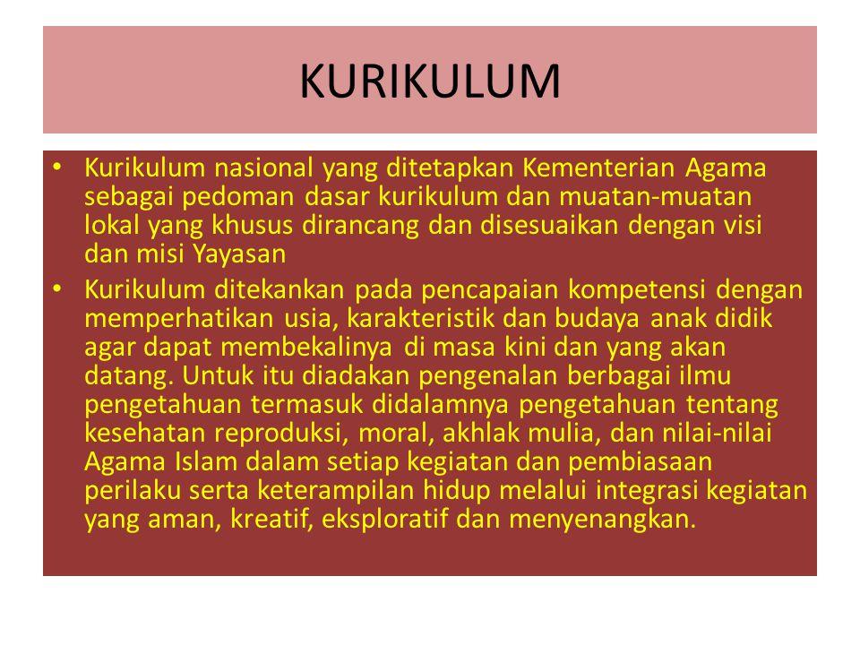 KURIKULUM Kurikulum nasional yang ditetapkan Kementerian Agama sebagai pedoman dasar kurikulum dan muatan-muatan lokal yang khusus dirancang dan dises