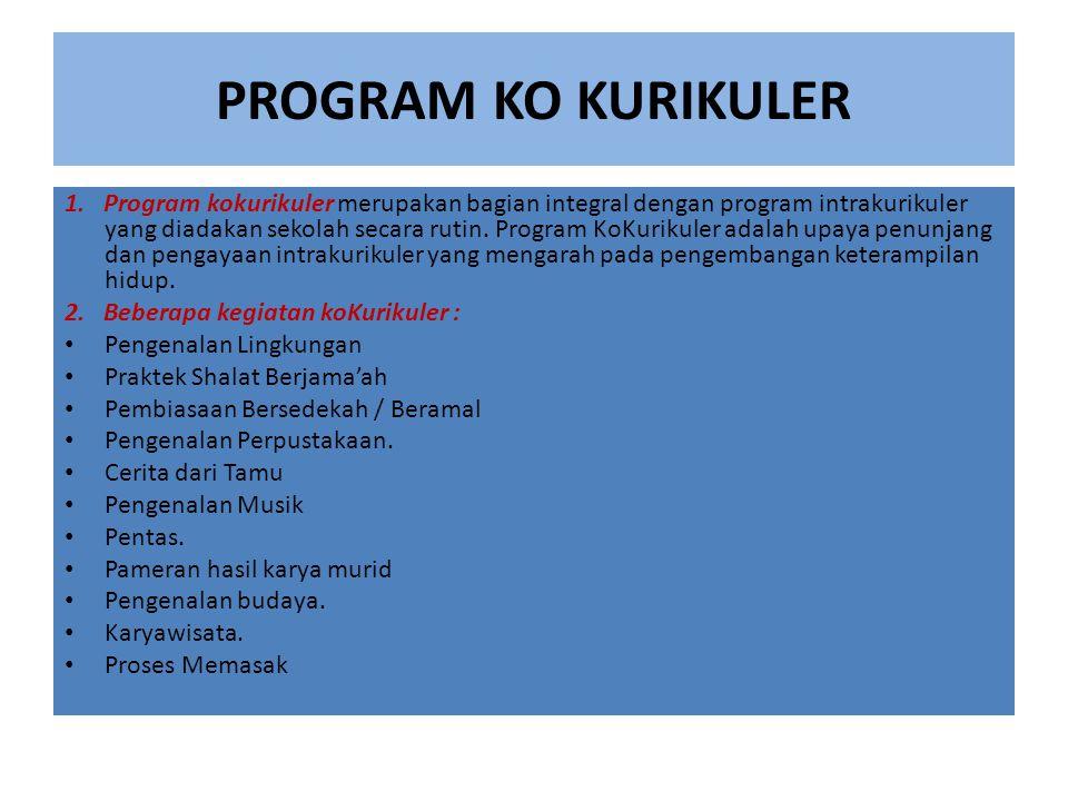 PROGRAM KO KURIKULER 1. Program kokurikuler merupakan bagian integral dengan program intrakurikuler yang diadakan sekolah secara rutin. Program KoKuri