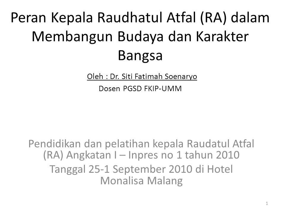 Peran Kepala Raudhatul Atfal (RA) dalam Membangun Budaya dan Karakter Bangsa Oleh : Dr. Siti Fatimah Soenaryo Dosen PGSD FKIP-UMM Pendidikan dan pelat