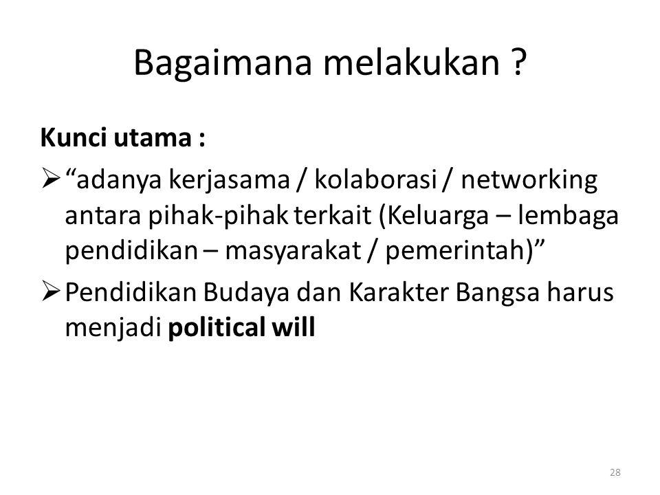 """Bagaimana melakukan ? Kunci utama :  """"adanya kerjasama / kolaborasi / networking antara pihak-pihak terkait (Keluarga – lembaga pendidikan – masyarak"""