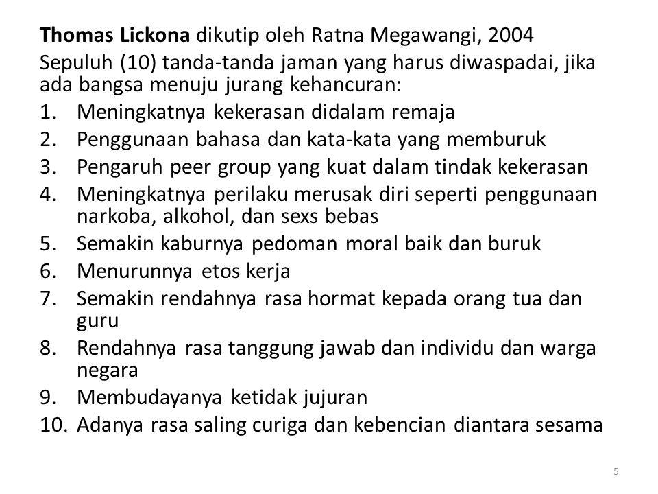 Thomas Lickona dikutip oleh Ratna Megawangi, 2004 Sepuluh (10) tanda-tanda jaman yang harus diwaspadai, jika ada bangsa menuju jurang kehancuran: 1.Me