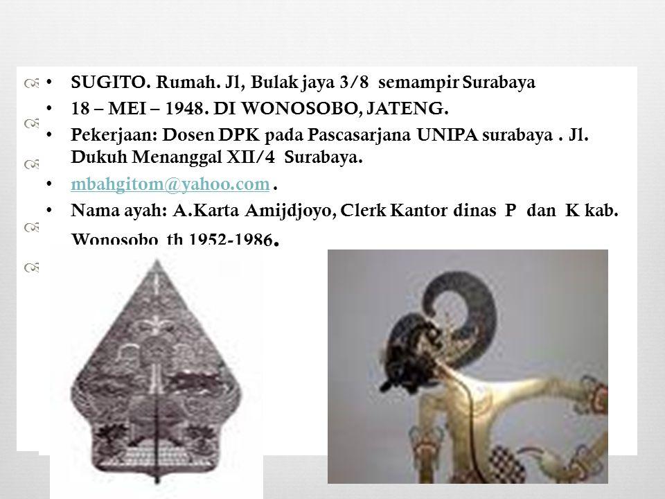  SUGITO.Rumah. Jl, Bulak jaya 3/8 semampir Surabaya  18 – MEI – 1948.