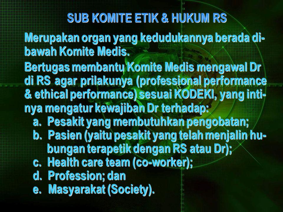 SUB KOMITE ETIK & HUKUM RS SUB KOMITE ETIK & HUKUM RS Merupakan organ yang kedudukannya berada di- bawah Komite Medis.
