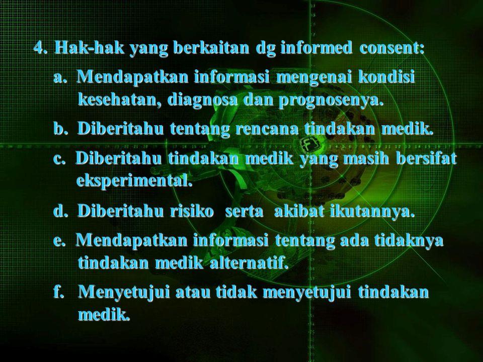 4.Hak-hak yang berkaitan dg informed consent: a.