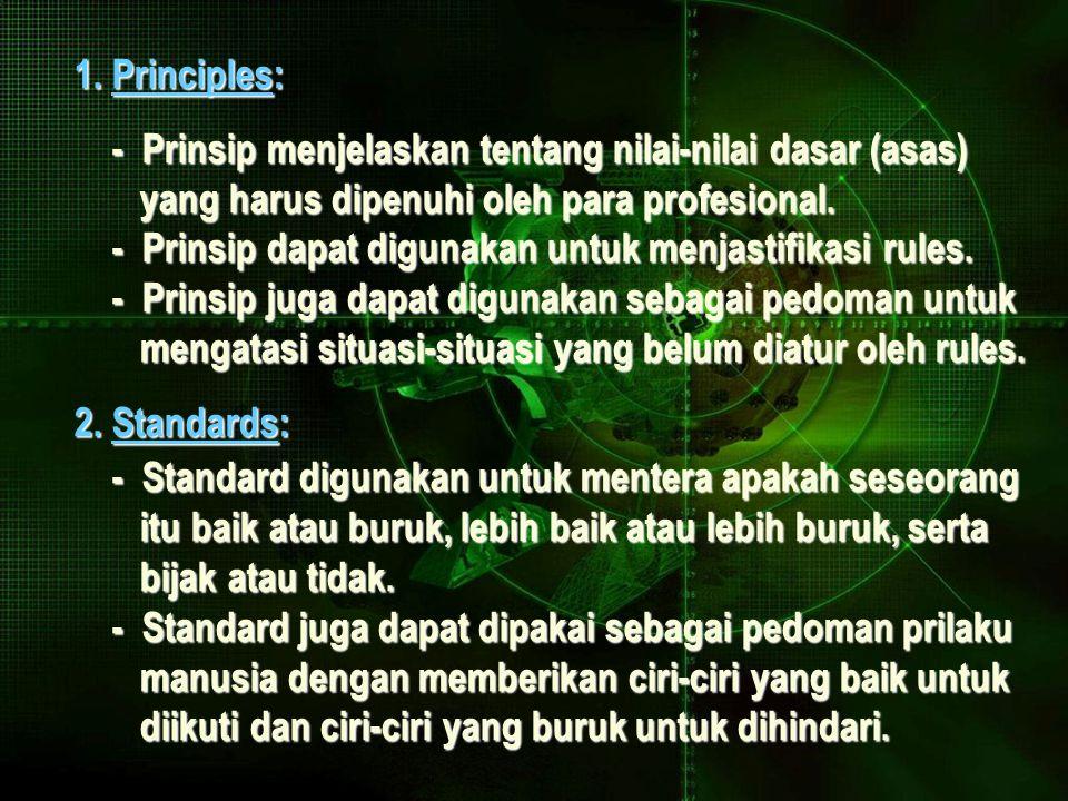 1. Principles: - Prinsip menjelaskan tentang nilai-nilai dasar (asas) - Prinsip menjelaskan tentang nilai-nilai dasar (asas) yang harus dipenuhi oleh
