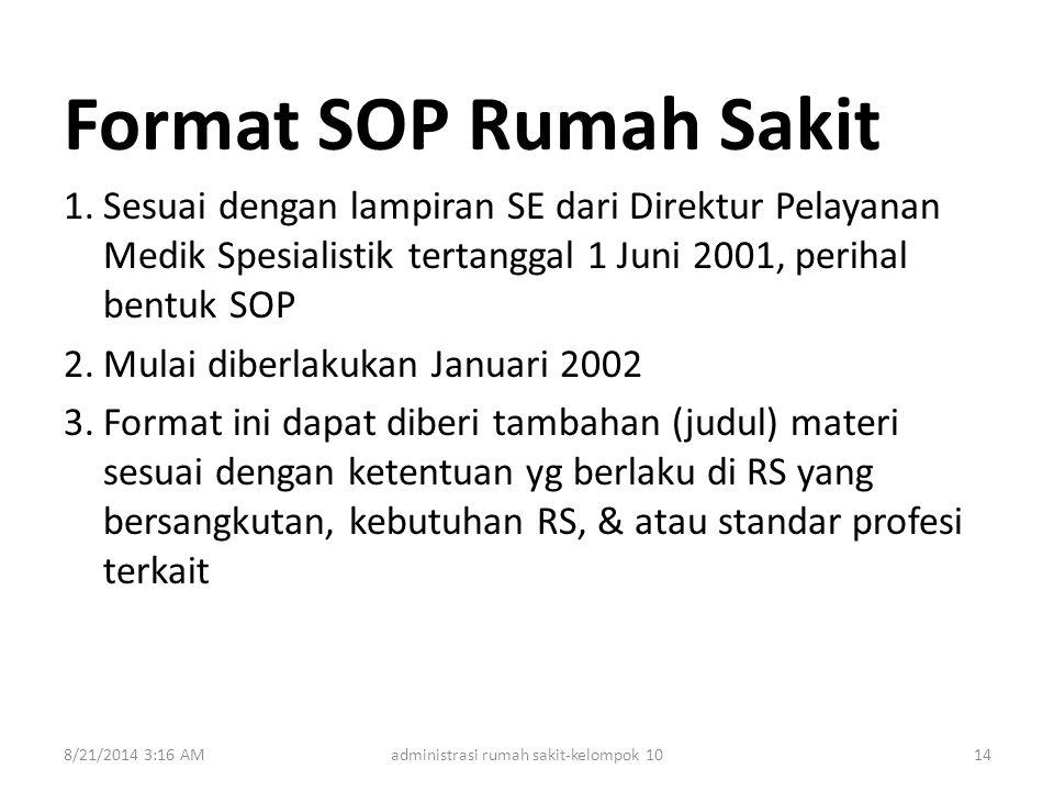 Format SOP Rumah Sakit 1.Sesuai dengan lampiran SE dari Direktur Pelayanan Medik Spesialistik tertanggal 1 Juni 2001, perihal bentuk SOP 2.Mulai diber