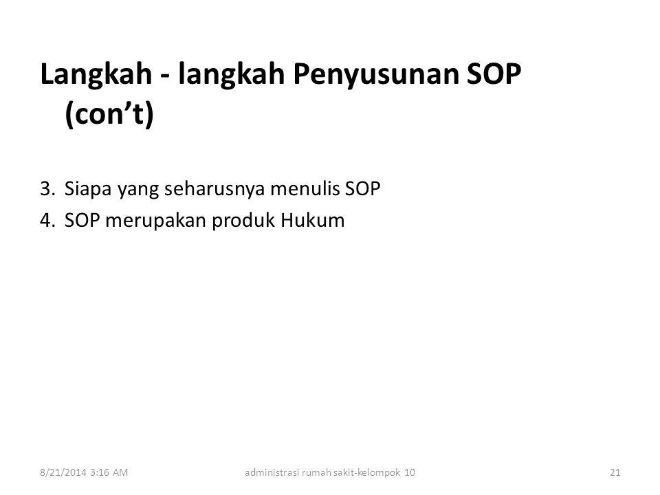 Langkah - langkah Penyusunan SOP (con't) 3.Siapa yang seharusnya menulis SOP 4.SOP merupakan produk Hukum 8/21/2014 3:18 AMadministrasi rumah sakit-ke
