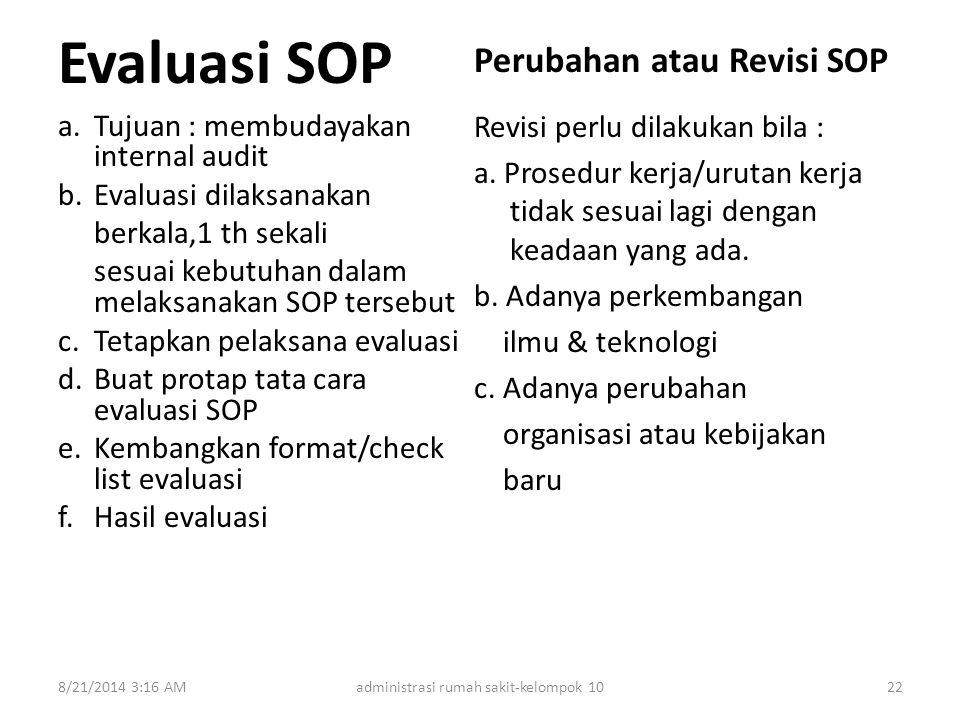 Evaluasi SOP a.Tujuan : membudayakan internal audit b.Evaluasi dilaksanakan berkala,1 th sekali sesuai kebutuhan dalam melaksanakan SOP tersebut c.Tet