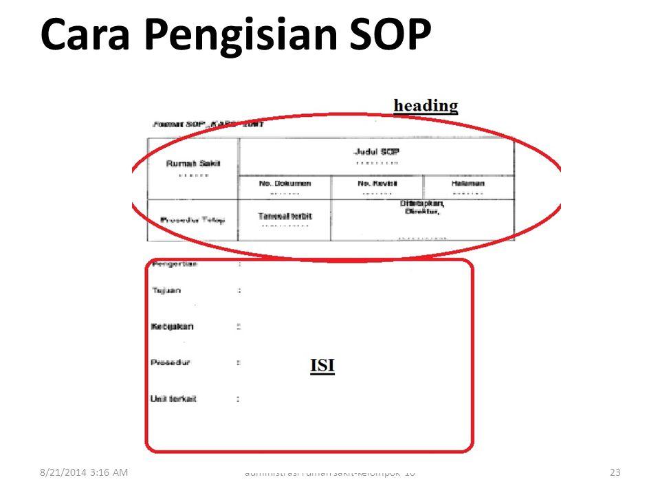 Cara Pengisian SOP 8/21/2014 3:18 AMadministrasi rumah sakit-kelompok 1023