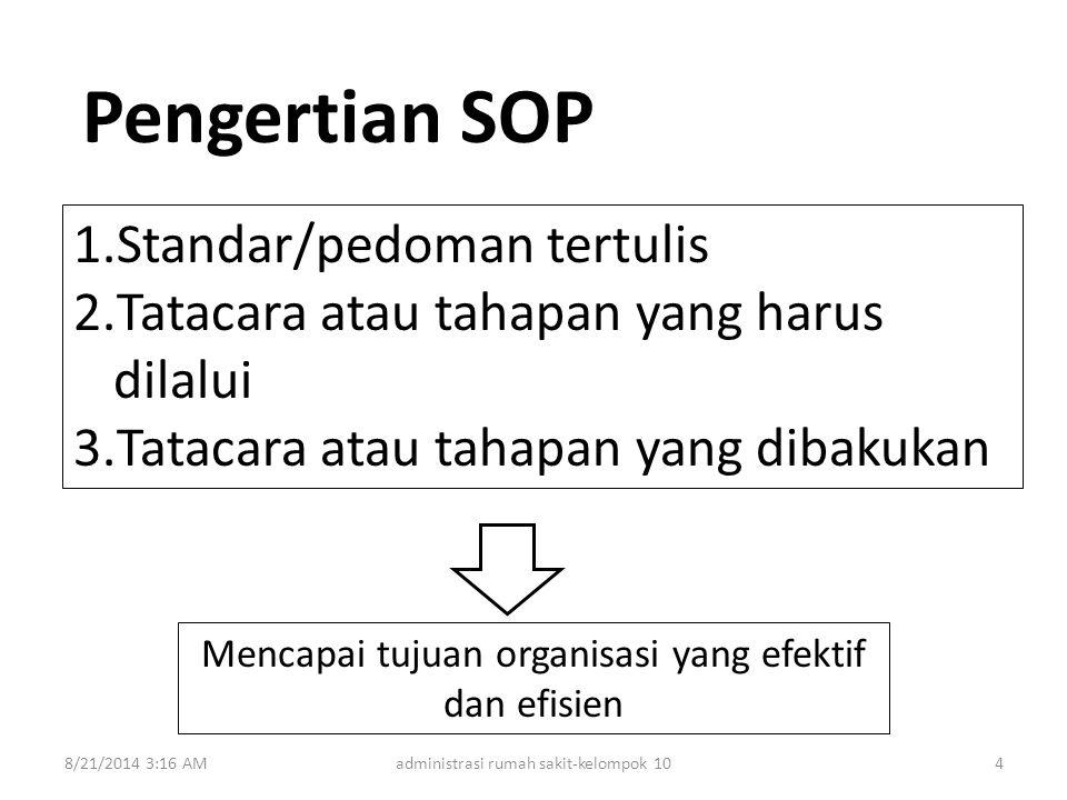 Mencapai tujuan organisasi yang efektif dan efisien Pengertian SOP 1.Standar/pedoman tertulis 2.Tatacara atau tahapan yang harus dilalui 3.Tatacara at