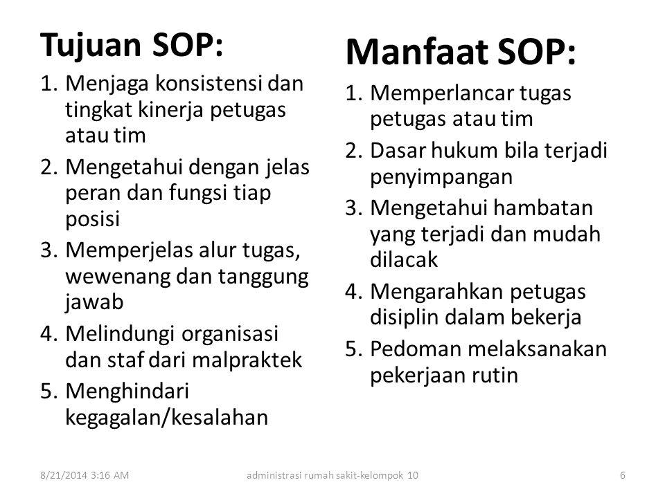 Tujuan SOP: 1.Menjaga konsistensi dan tingkat kinerja petugas atau tim 2.Mengetahui dengan jelas peran dan fungsi tiap posisi 3.Memperjelas alur tugas