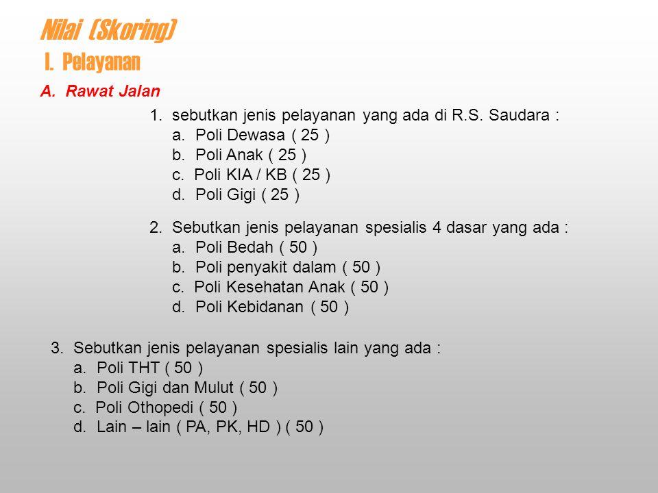 9 v - 2 8 Nilai (Skoring) A.Rawat Jalan 1. sebutkan jenis pelayanan yang ada di R.S.