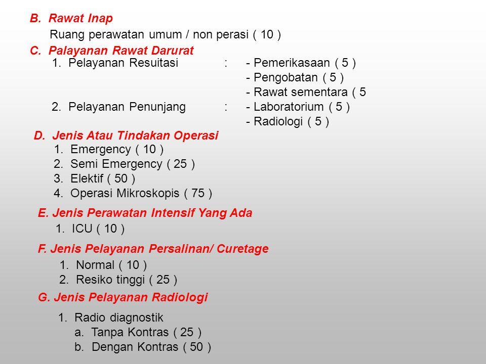 B.Rawat Inap Ruang perawatan umum / non perasi ( 10 ) C.