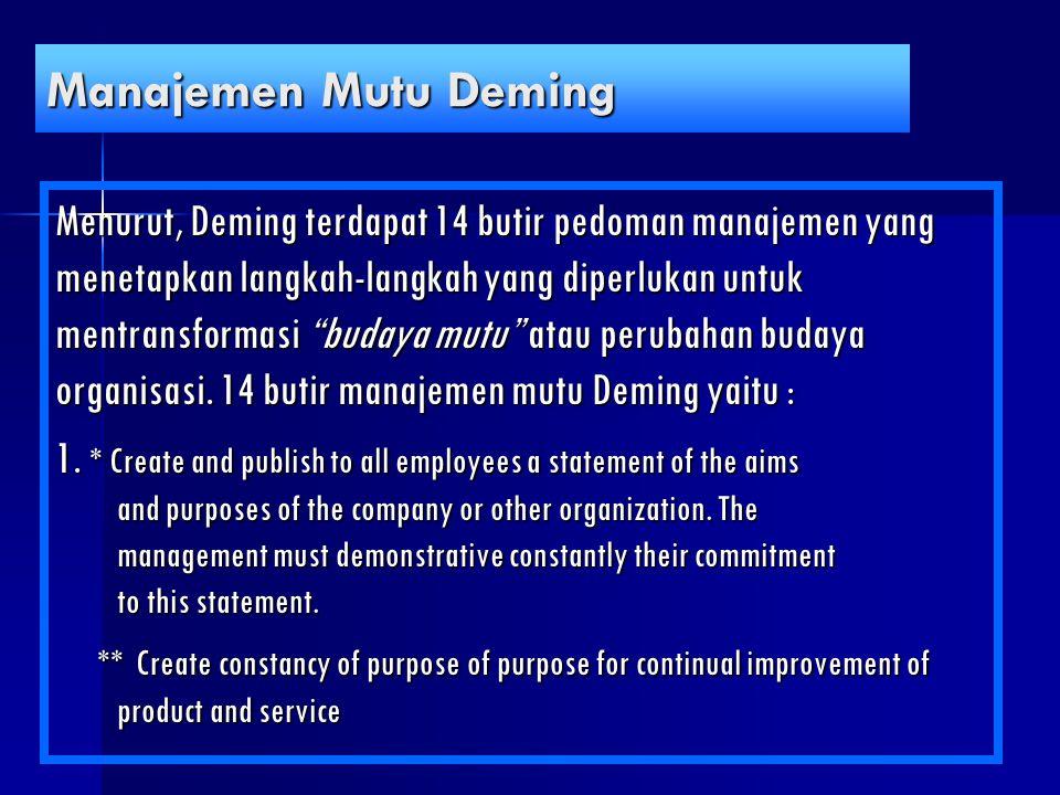 """Manajemen Mutu Deming Menurut, Deming terdapat 14 butir pedoman manajemen yang menetapkan langkah-langkah yang diperlukan untuk mentransformasi """"buday"""
