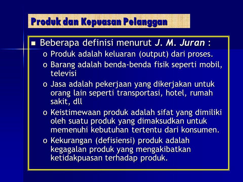 Produk dan Kepuasan Pelanggan Beberapa definisi menurut J. M. Juran : Beberapa definisi menurut J. M. Juran : oProduk adalah keluaran (output) dari pr