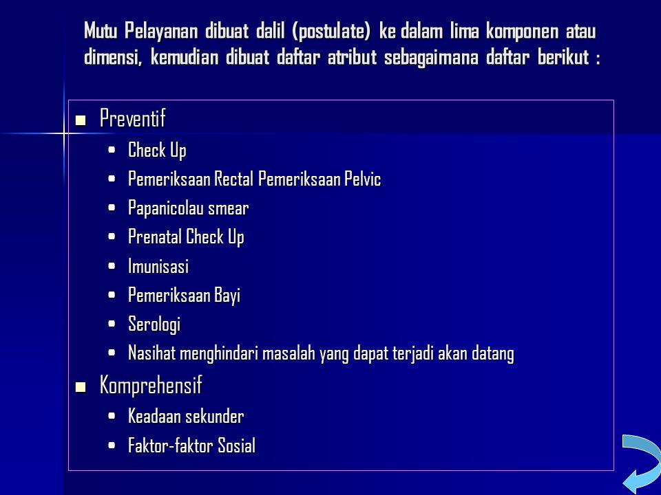 Mutu Pelayanan dibuat dalil (postulate) ke dalam lima komponen atau dimensi, kemudian dibuat daftar atribut sebagaimana daftar berikut : Preventif Pre