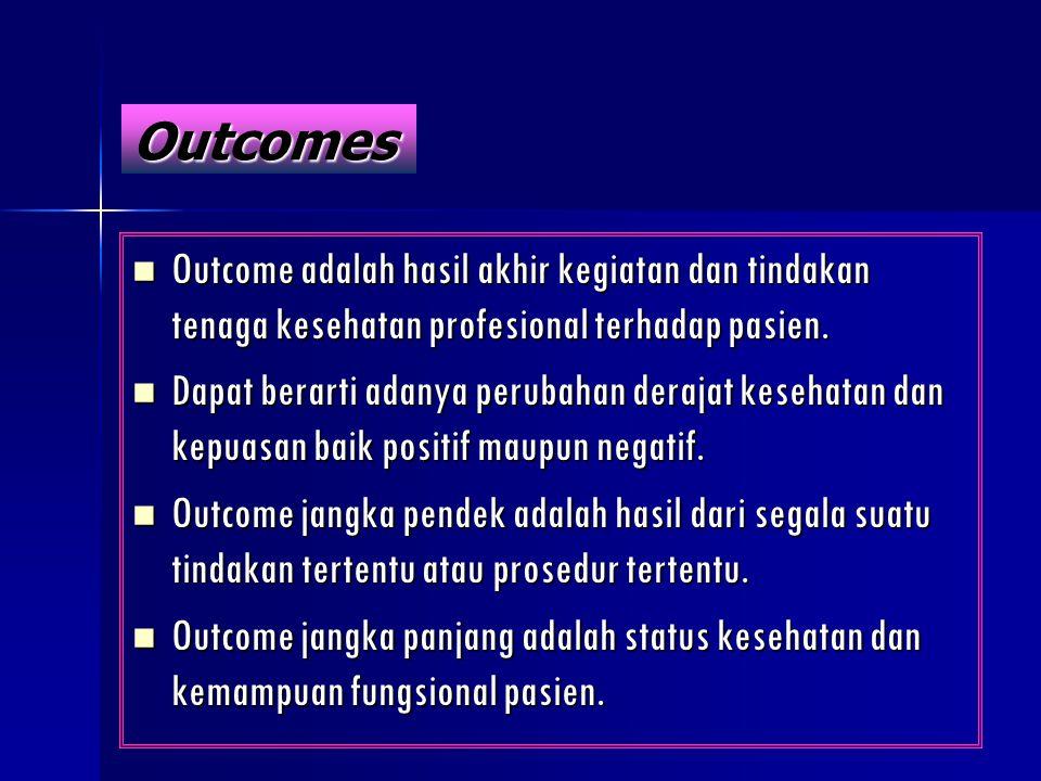 Outcomes Outcome adalah hasil akhir kegiatan dan tindakan tenaga kesehatan profesional terhadap pasien. Outcome adalah hasil akhir kegiatan dan tindak