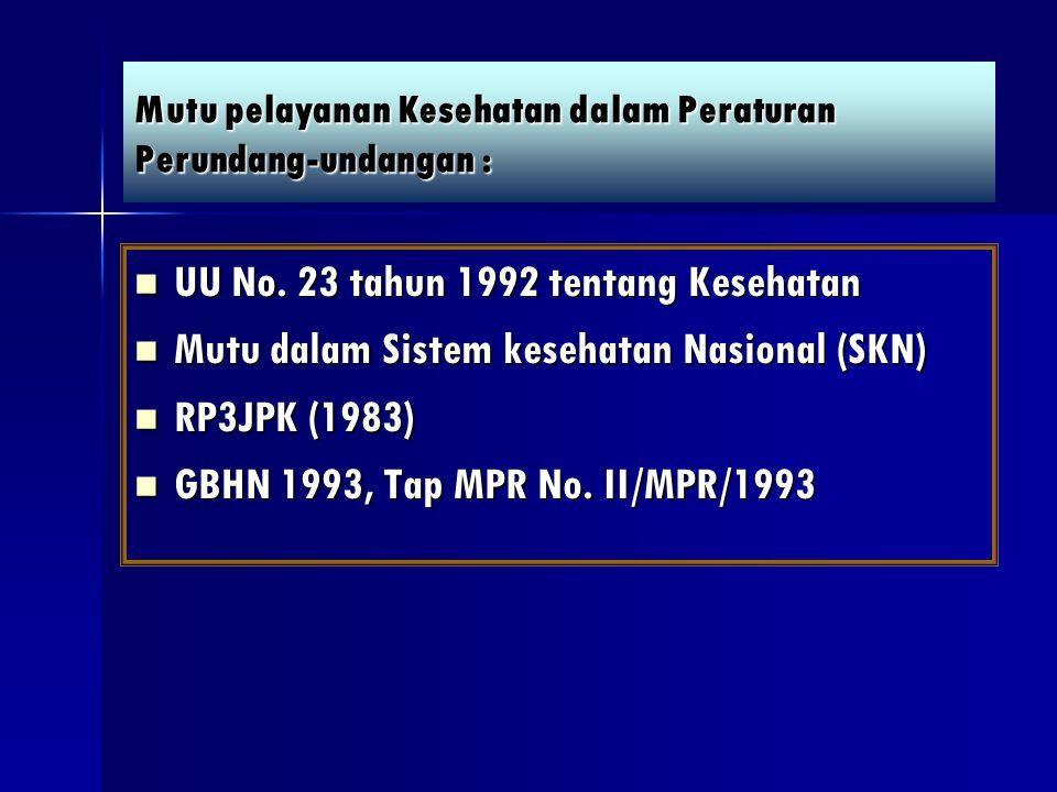 Mutu pelayanan Kesehatan dalam Peraturan Perundang-undangan : UU No. 23 tahun 1992 tentang Kesehatan UU No. 23 tahun 1992 tentang Kesehatan Mutu dalam