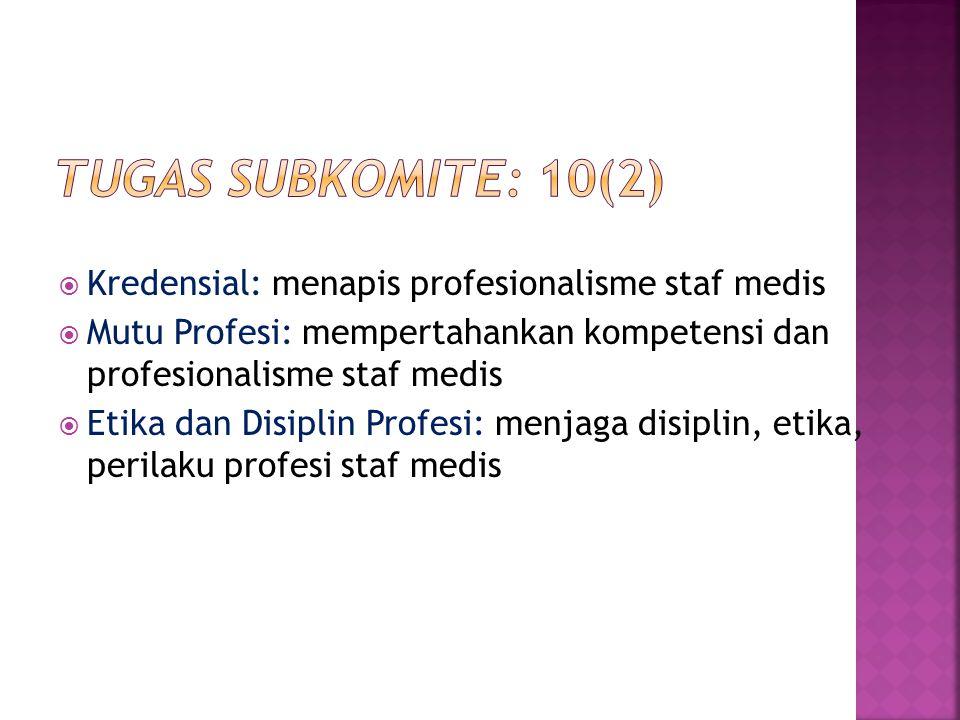  Kredensial: menapis profesionalisme staf medis  Mutu Profesi: mempertahankan kompetensi dan profesionalisme staf medis  Etika dan Disiplin Profesi