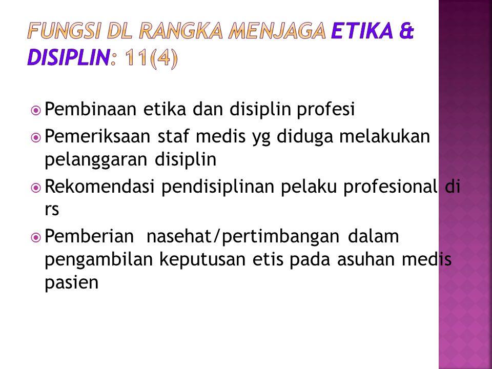  Pembinaan etika dan disiplin profesi  Pemeriksaan staf medis yg diduga melakukan pelanggaran disiplin  Rekomendasi pendisiplinan pelaku profesiona