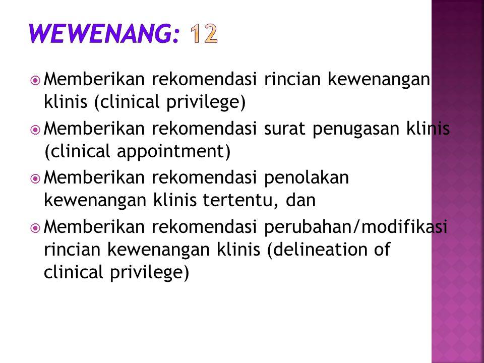  Memberikan rekomendasi rincian kewenangan klinis (clinical privilege)  Memberikan rekomendasi surat penugasan klinis (clinical appointment)  Membe