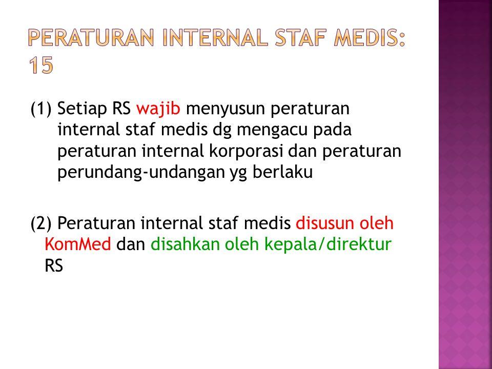 (1) Setiap RS wajib menyusun peraturan internal staf medis dg mengacu pada peraturan internal korporasi dan peraturan perundang-undangan yg berlaku (2