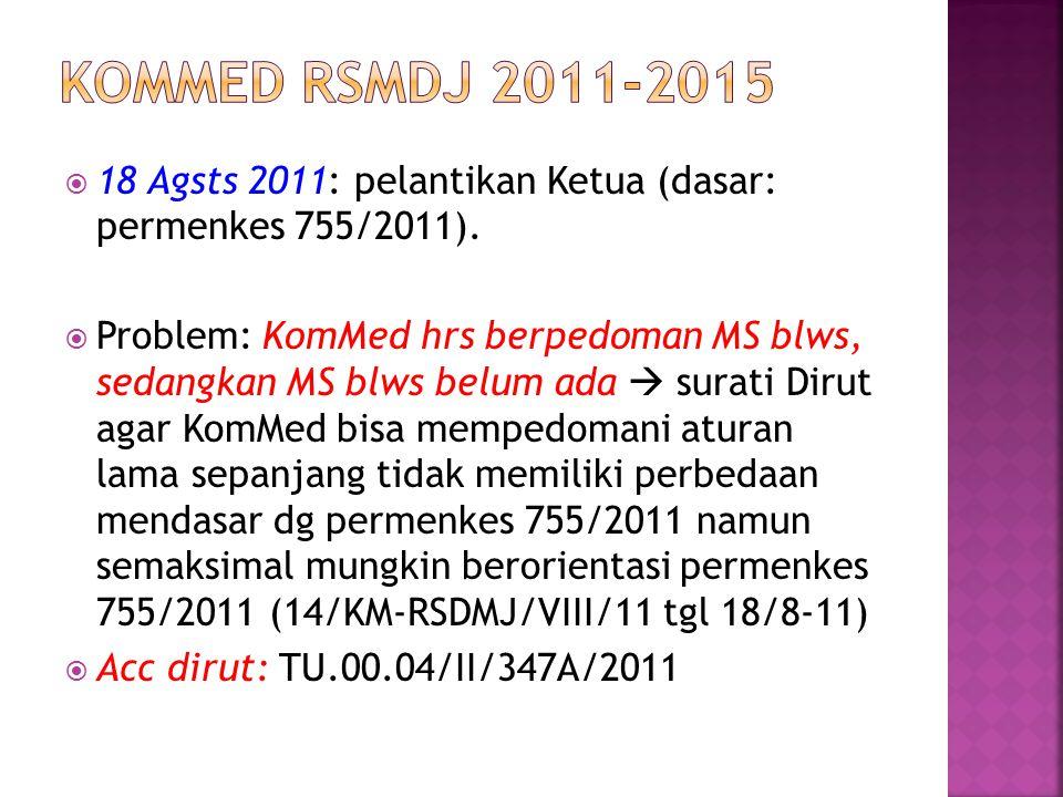  18 Agsts 2011: pelantikan Ketua (dasar: permenkes 755/2011).  Problem: KomMed hrs berpedoman MS blws, sedangkan MS blws belum ada  surati Dirut ag