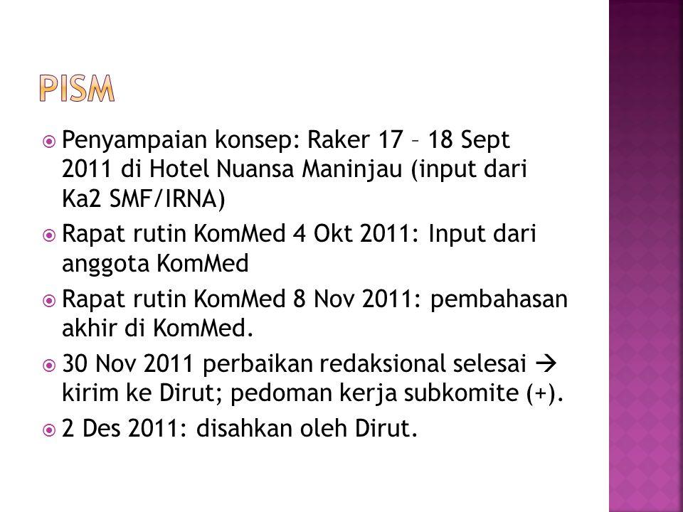  Penyampaian konsep: Raker 17 – 18 Sept 2011 di Hotel Nuansa Maninjau (input dari Ka2 SMF/IRNA)  Rapat rutin KomMed 4 Okt 2011: Input dari anggota K