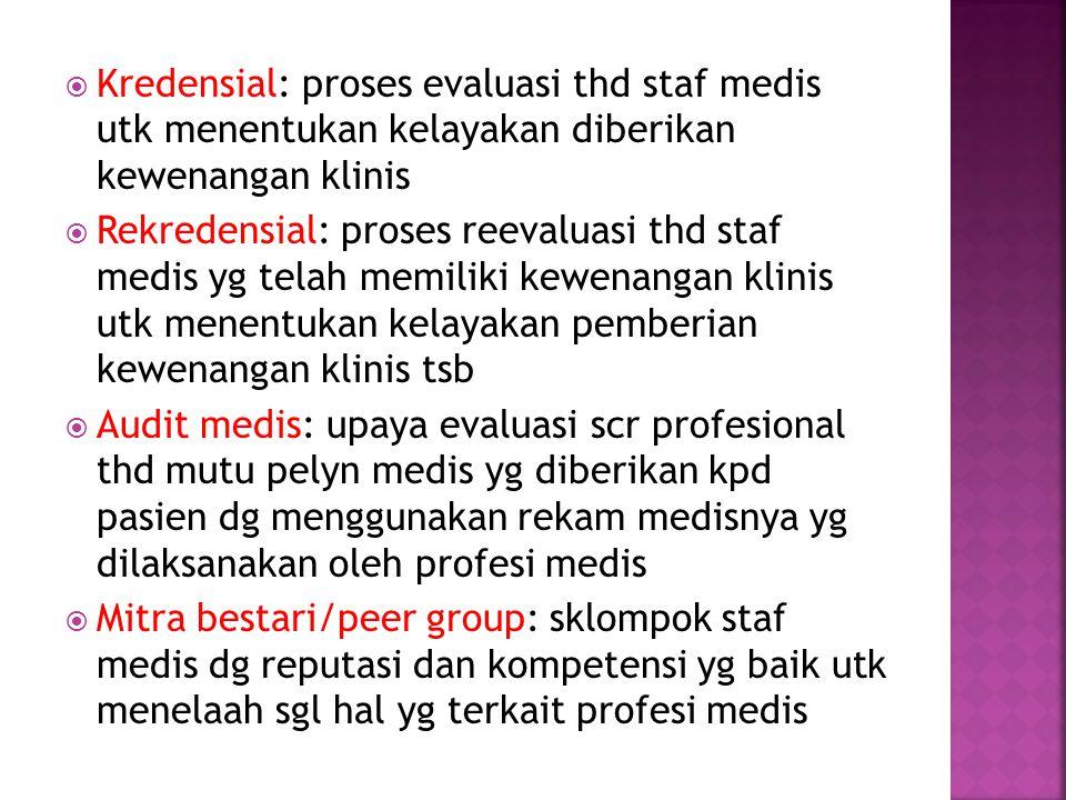  Kredensial: proses evaluasi thd staf medis utk menentukan kelayakan diberikan kewenangan klinis  Rekredensial: proses reevaluasi thd staf medis yg