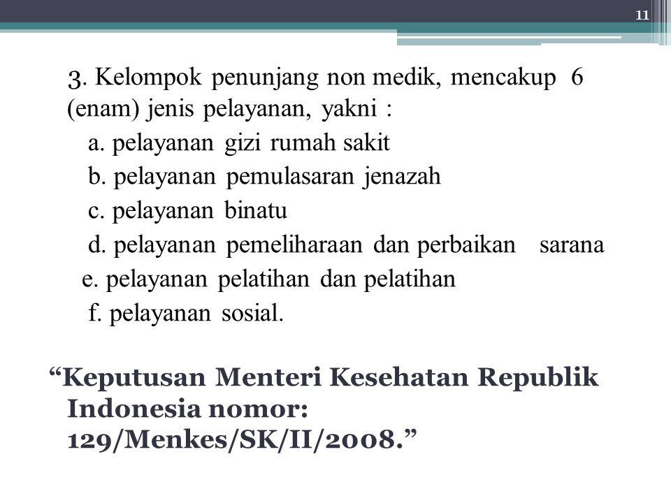 3.Kelompok penunjang non medik, mencakup 6 (enam) jenis pelayanan, yakni : a.