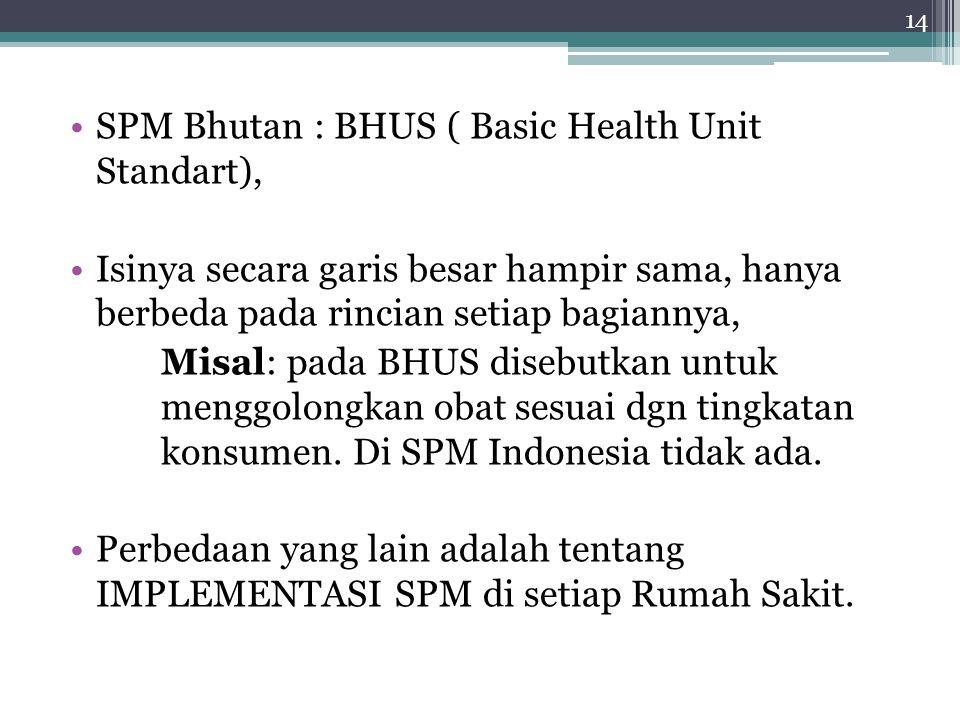 SPM Bhutan : BHUS ( Basic Health Unit Standart), Isinya secara garis besar hampir sama, hanya berbeda pada rincian setiap bagiannya, Misal: pada BHUS