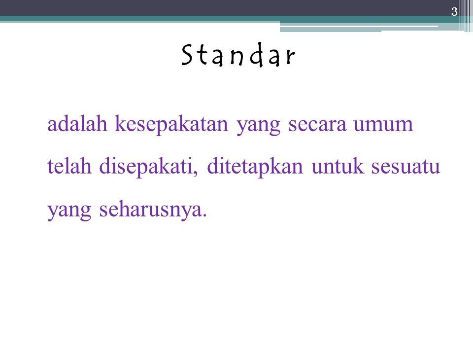 Standar adalah kesepakatan yang secara umum telah disepakati, ditetapkan untuk sesuatu yang seharusnya.