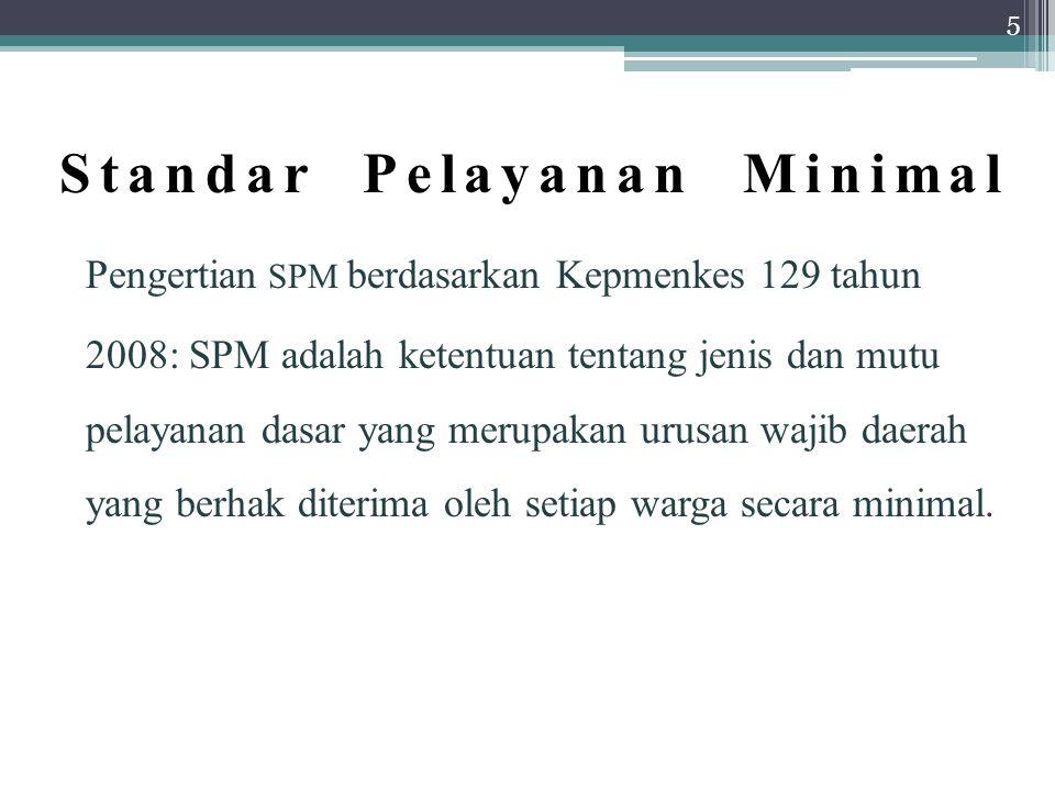 Standar Pelayanan Minimal Pengertian SPM berdasarkan Kepmenkes 129 tahun 2008: SPM adalah ketentuan tentang jenis dan mutu pelayanan dasar yang merupakan urusan wajib daerah yang berhak diterima oleh setiap warga secara minimal.