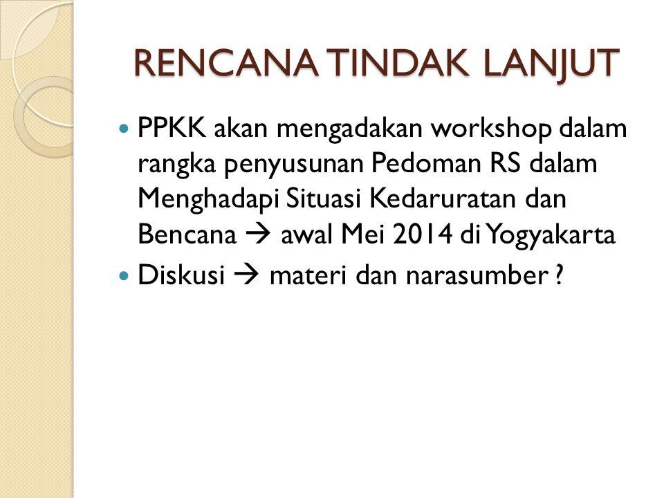 RENCANA TINDAK LANJUT PPKK akan mengadakan workshop dalam rangka penyusunan Pedoman RS dalam Menghadapi Situasi Kedaruratan dan Bencana  awal Mei 201