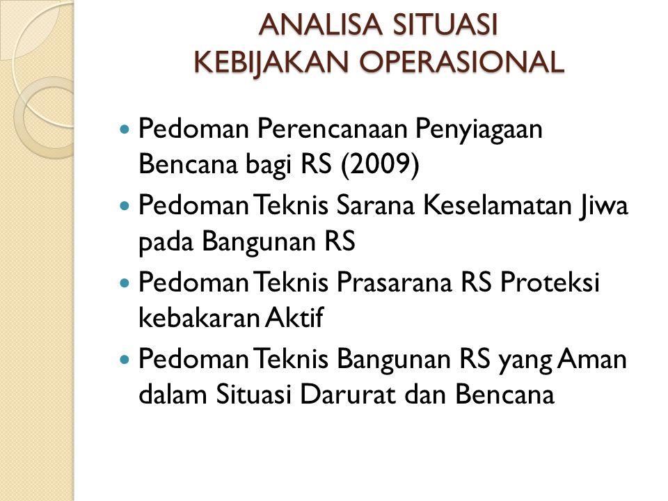 ANALISA SITUASI KEBIJAKAN OPERASIONAL Pedoman Perencanaan Penyiagaan Bencana bagi RS (2009) Pedoman Teknis Sarana Keselamatan Jiwa pada Bangunan RS Pe