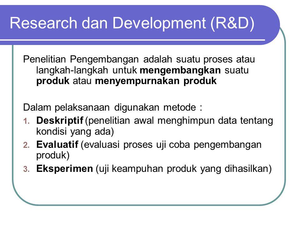 Research dan Development (R&D) Penelitian Pengembangan adalah suatu proses atau langkah-langkah untuk mengembangkan suatu produk atau menyempurnakan produk Dalam pelaksanaan digunakan metode : 1.