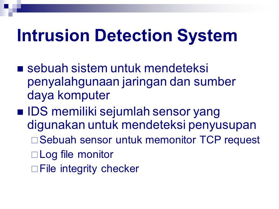 Intrusion Detection System sebuah sistem untuk mendeteksi penyalahgunaan jaringan dan sumber daya komputer IDS memiliki sejumlah sensor yang digunakan untuk mendeteksi penyusupan  Sebuah sensor untuk memonitor TCP request  Log file monitor  File integrity checker