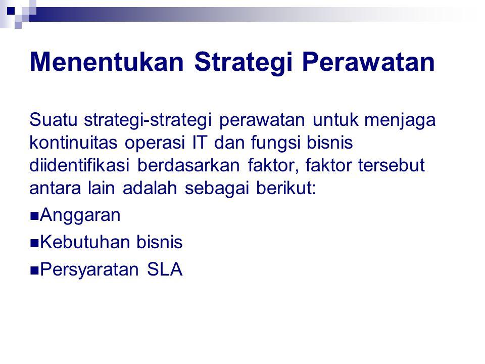 Menentukan Strategi Perawatan Suatu strategi-strategi perawatan untuk menjaga kontinuitas operasi IT dan fungsi bisnis diidentifikasi berdasarkan faktor, faktor tersebut antara lain adalah sebagai berikut: Anggaran Kebutuhan bisnis Persyaratan SLA