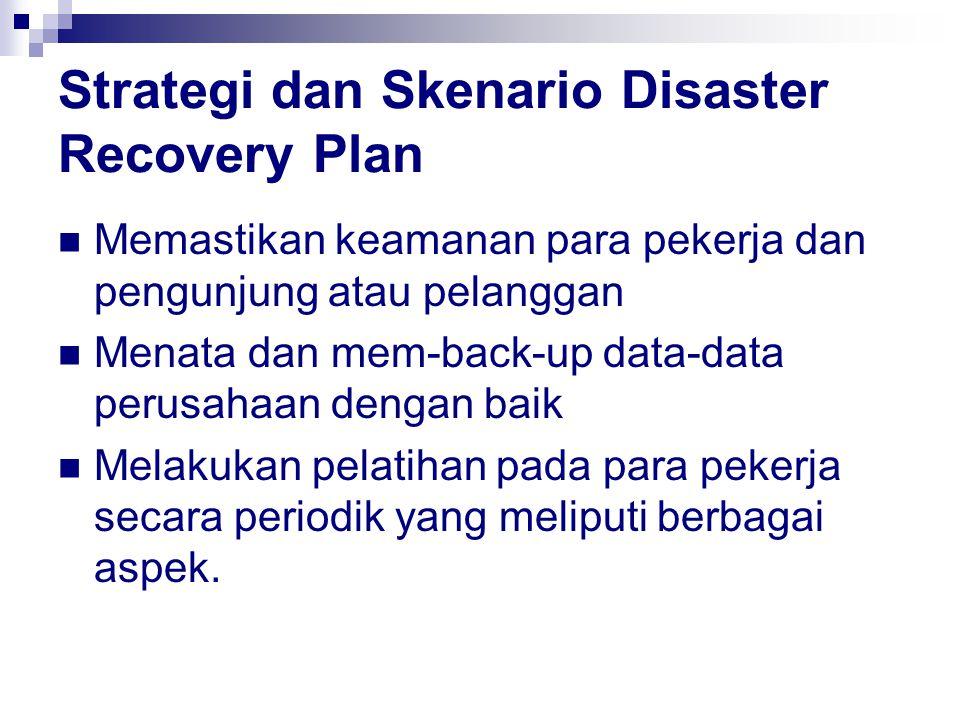 Strategi dan Skenario Disaster Recovery Plan Memastikan keamanan para pekerja dan pengunjung atau pelanggan Menata dan mem-back-up data-data perusahaan dengan baik Melakukan pelatihan pada para pekerja secara periodik yang meliputi berbagai aspek.