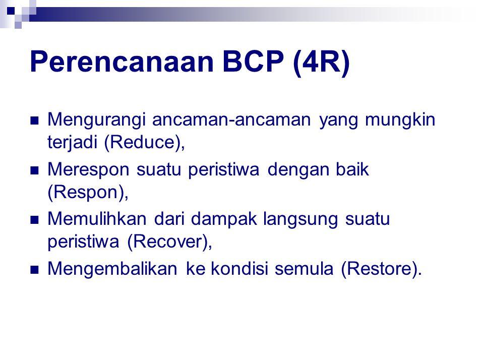 Perencanaan BCP (4R) Mengurangi ancaman-ancaman yang mungkin terjadi (Reduce), Merespon suatu peristiwa dengan baik (Respon), Memulihkan dari dampak langsung suatu peristiwa (Recover), Mengembalikan ke kondisi semula (Restore).