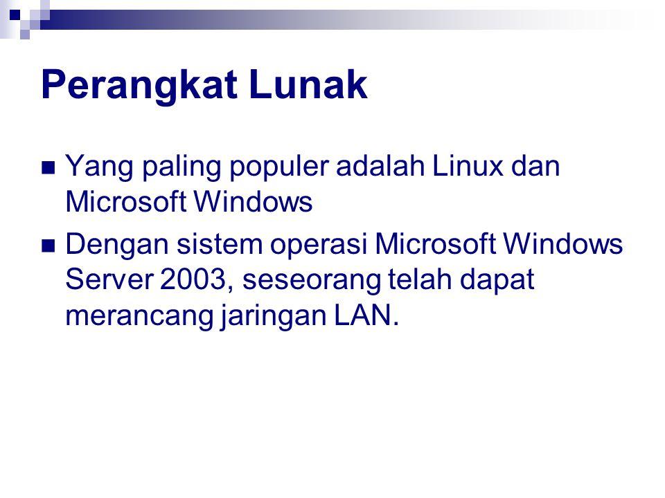 Perangkat Lunak Yang paling populer adalah Linux dan Microsoft Windows Dengan sistem operasi Microsoft Windows Server 2003, seseorang telah dapat merancang jaringan LAN.