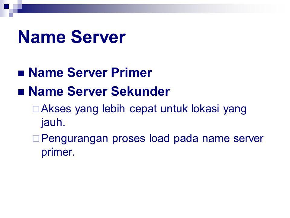 Name Server Name Server Primer Name Server Sekunder  Akses yang lebih cepat untuk lokasi yang jauh.