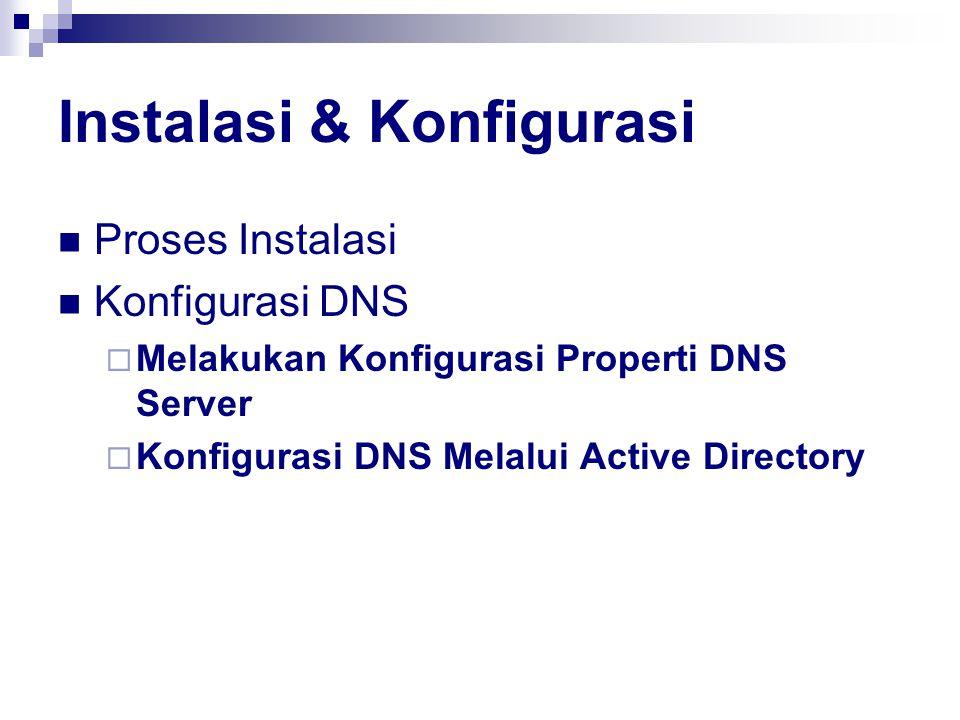 Instalasi & Konfigurasi Proses Instalasi Konfigurasi DNS  Melakukan Konfigurasi Properti DNS Server  Konfigurasi DNS Melalui Active Directory